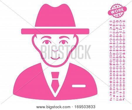 Agent pictograph with bonus human pictures. Vector illustration style is flat iconic pink symbols on white background.