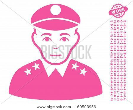 Army General icon with bonus people graphic icons. Vector illustration style is flat iconic pink symbols on white background.