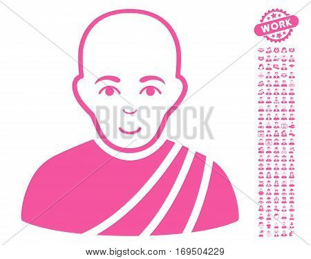Buddhist Monk pictograph with bonus avatar graphic icons. Vector illustration style is flat iconic pink symbols on white background.