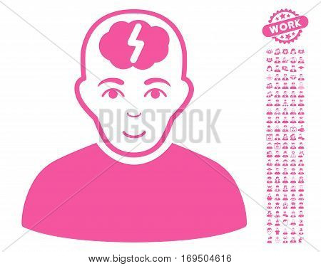 Clever Boy pictograph with bonus avatar images. Vector illustration style is flat iconic pink symbols on white background.