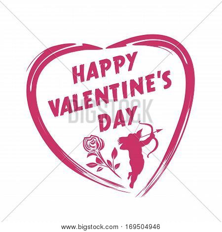 Valentine's Day design. Cupid shooting from bow, rose, heart. Happy Valentine's Day. Vector illustration