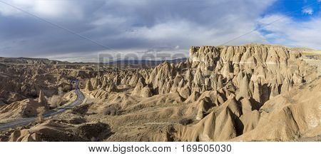 Panoramic view of geological rock formations in Cappadocia Region, Turkey