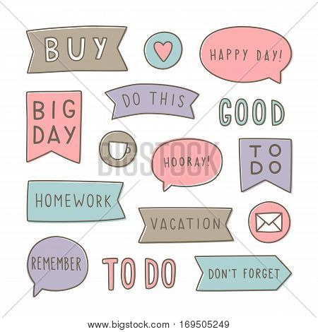 Set of planning stickers. Can be used for your planner. Printable. Vector illustration