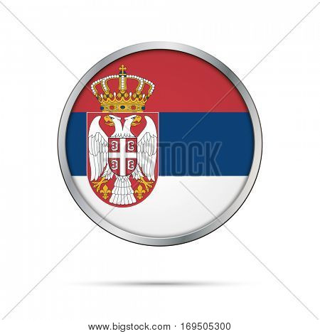 Vector Serbian flag Button. Serbia flag glass button style with metal frame.