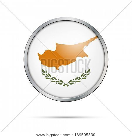 Vector Cypriot flag Button. Cyprus flag glass button style with metal frame.