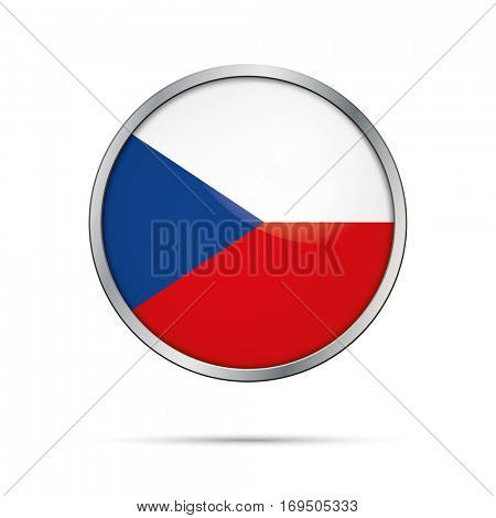 Vector Czech flag Button. Czech Republic flag glass button style with metal frame.