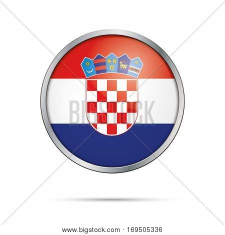 Vector Croatian flag Button. Croatia flag glass button style with metal frame.