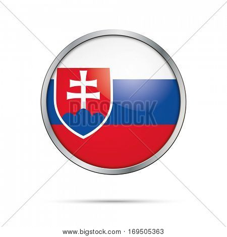 Vector Slovakian flag Button. Slovakia flag glass button style with metal frame.