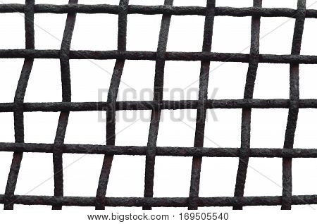 Old Aged Weathered Rusty Grid Cage Fence Iron Grating, Isolated Grungy Horizontal Large Detailed Macro Closeup, Grunge Rust Metal Bars Mesh Detail, Vintage Framework Security Concept Metaphor