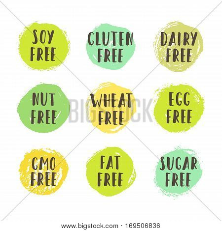 Set of allergen free badges. Can be used for packaging design. Vector illustration
