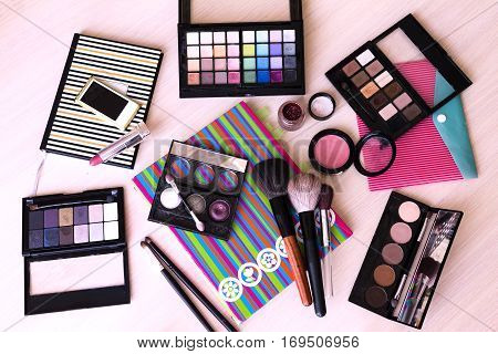 makeup maquillage kit (set): palette brush eye shadow powder lipstick (flat lay)