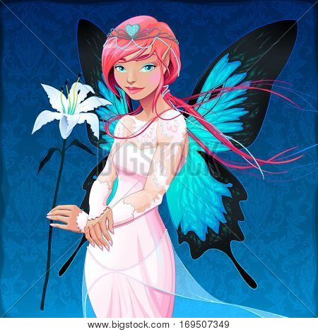 Portrait of a young fairy with a wedding dress and flower. Vector illustration