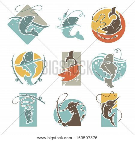 Fishing club vector flat icons of fish catch and fisherman tackle. Isolated emblems of fisher man with fish-rod, fishery bait and lures and sea or ocean water
