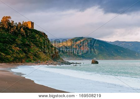 Beautiful view along the Cape Milazzo. Sicily Italy.