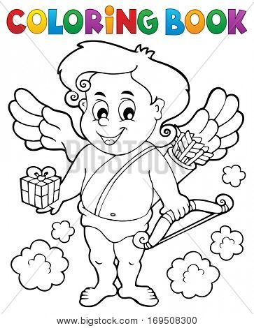 Coloring book with Cupid 9 - eps10 vector illustration.