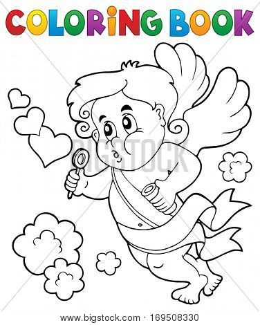 Coloring book with Cupid 8 - eps10 vector illustration.