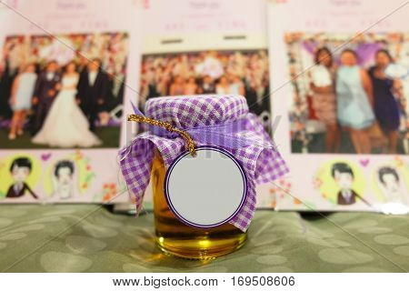 Honey jar with blank tag in the front wedding souvenir