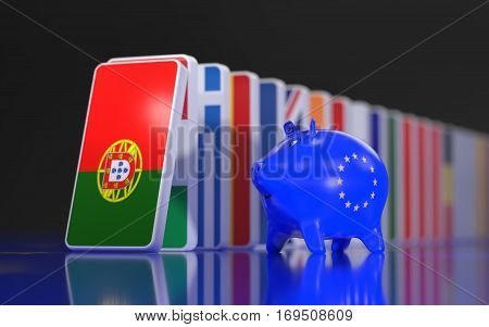 Flags of European Countries like a domino falling down. 3D rendering.