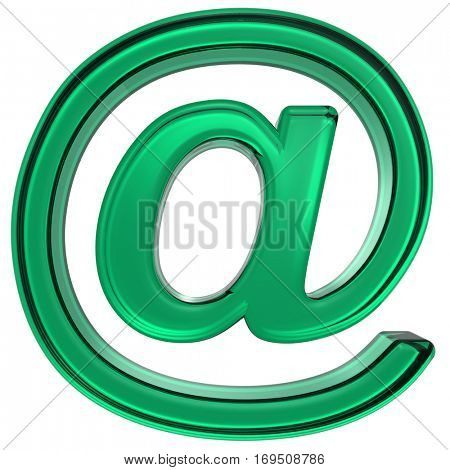 E-mail sign from green glass alphabet set, isolated on white. 3D illustration.
