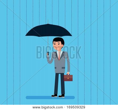 Cute Cartoon Businessman with Umbrella Standing Under the Rain, a man stands with an umbrella and smiling. Cartoon vector flat-style illustration.