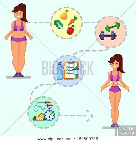 Healthy Lifestyle. Vector Flat Icon Set Illustration Sport Running Exercise Gymnastic Proper Nutriti
