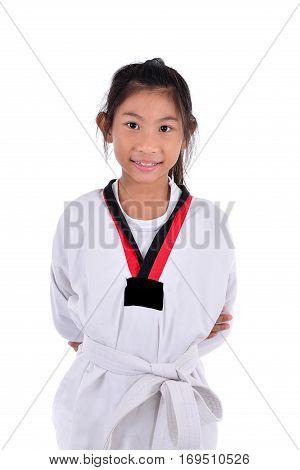 Happy Asian sport girl on white background