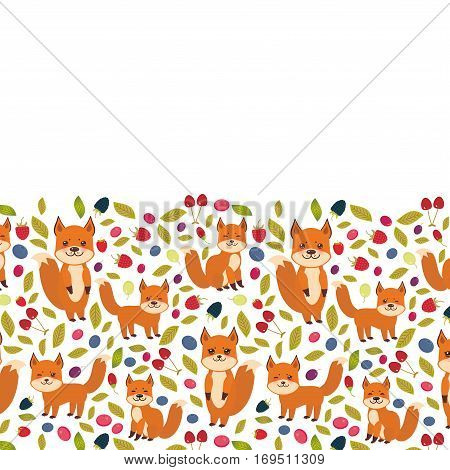 Card design for your text cute kawaii fox Cherry Strawberry Raspberry Blueberry Cranberry Cowberry Goji Grape on white background. Vector illustration