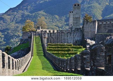Fortifications in Bellinzona, Switzerland