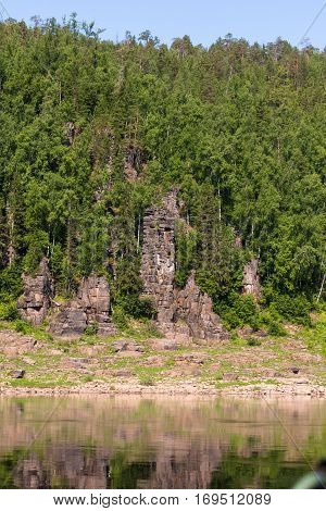 Fantastical cliffs. Around only rocks and water. Krasnoyarsk territory