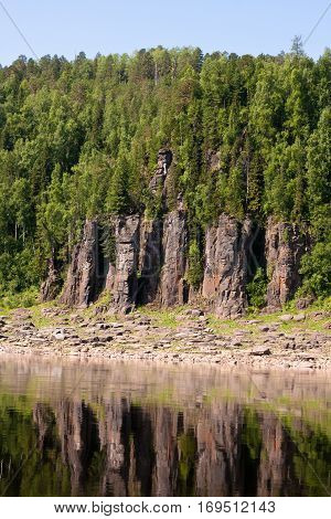 Fantastical cliffs on the river. Around only rocks. Krasnoyarsk territory