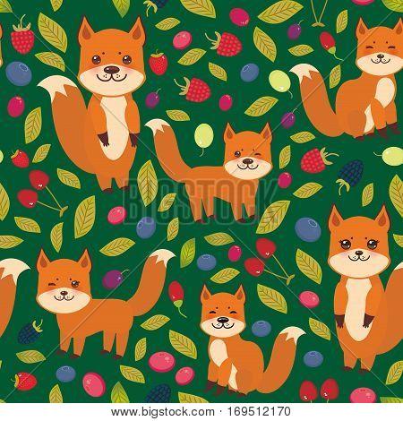 seamless pattern cute kawaii fox Cherry Strawberry Raspberry Blueberry Cranberry Cowberry Goji Grape isolated on dark green background. Vector illustration