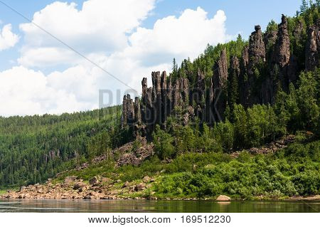 Big river of Eastern Siberia. Cliffs and clouds. Krasnoyarsk region.