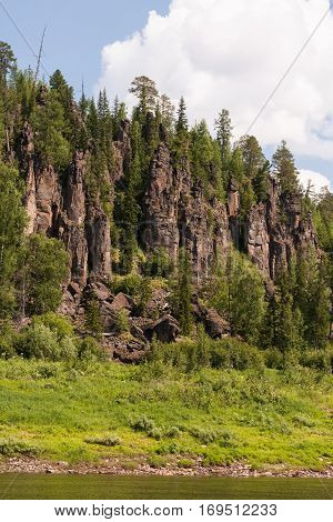 Big river of Eastern Siberia. Tunguska. Fantastical cliffs. Krasnoyarsk territory.