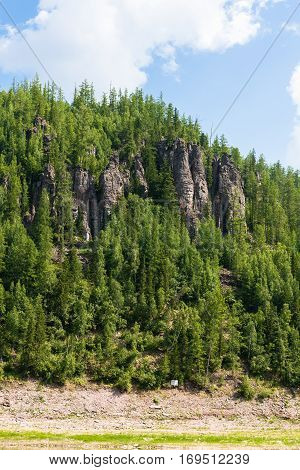 Beautiful Siberian rivers. Tunguska. Fantastical cliffs. Krasnoyarsk territory.