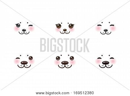 Kawaii funny albino animal white muzzle with pink cheeks and winking eyes. Vector illustration