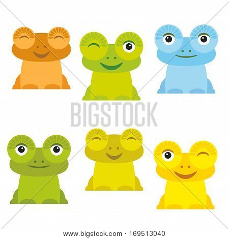 Cute Cartoon funny frog set yellow green blue orange on white background. Vector illustration