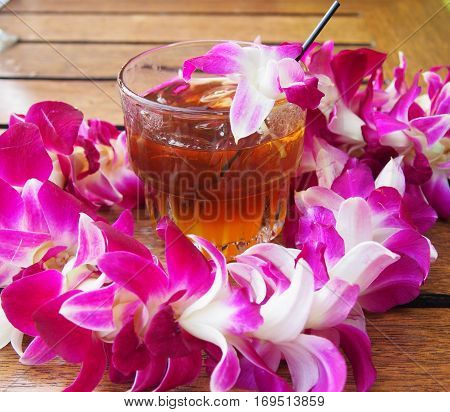 Hawaiian Lei and Mai Tai drink at the Luau on Maui Hawaii