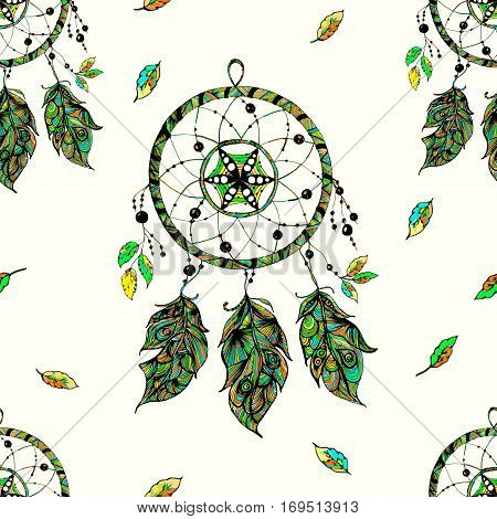 Seamless pattern Indian Dream Catcher. With beads, feathers. Vector image. Boho style. Beautiful background. Nice colors.