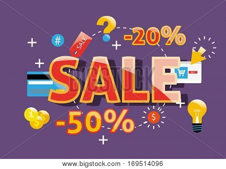 Sale Concept for website and mobile website banners. Vector Illustration.