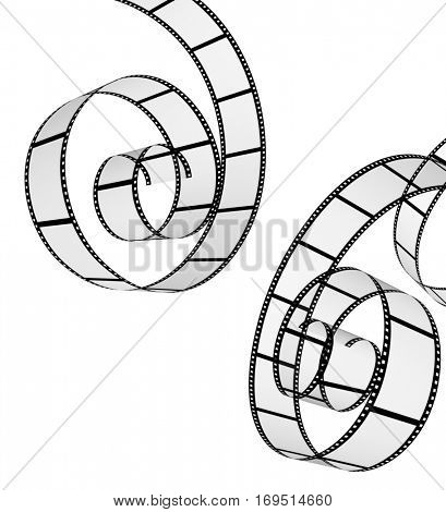 Two retro filmstrips. Objects isolated on white background. 3d render
