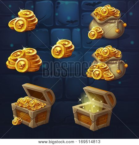 Set of wooden chests with coins for the game UI. Vector cartoon illustration of a bunch of mountains of gold coins on the background of dark brick. Full empty chest bag with coins.