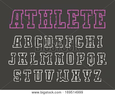 Slab serif contour font in sport style with shabby texture. Print on black background