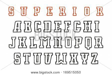 Slab serif contour font in the style of hand-drawn graphics. Isolated on white background
