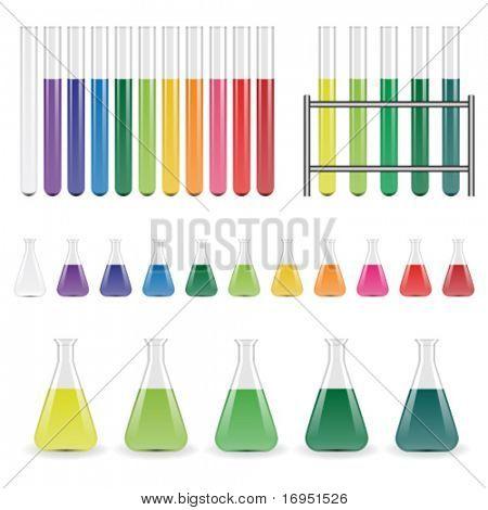 frascos de laboratorio de vectores y tubos