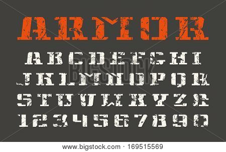 Stencil-plate serif font and numerals in military style with shabby texture. Print on black background