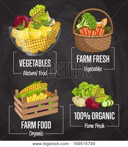 Organic farm food set vector illustration. Fresh natural vegetable, organic farming, vegan food store, retail farm product label. Healthy farm advertising with pepper, broccoli, corn, carrot, beet.