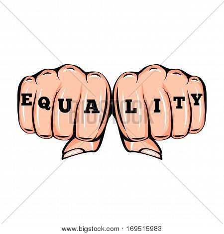 Equality tattoo. Feminism poster with female fists. Vector illustration isolated on white background
