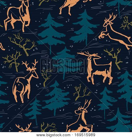 Hand drawn winter seamless pattern with deer and pine trees in doodle incomplete style. Artistic illustration. Design element for christmas wrapping paper cards and posters