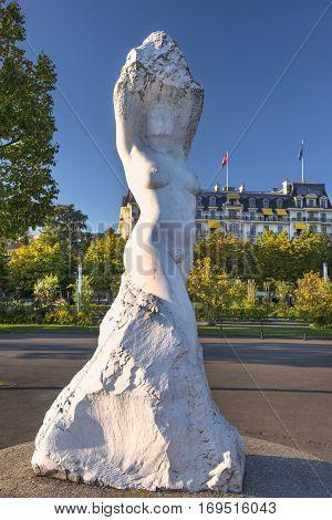 Lausanne, Switzerland - September 6: marble sculpture