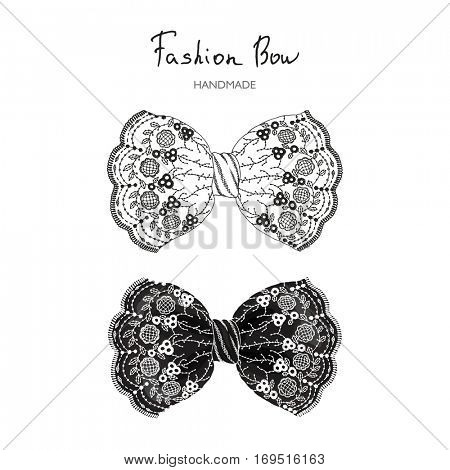 Vector bows of lace in retro style, hand-drawn illustration.
